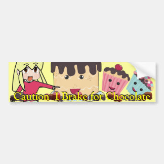 Caution I brake for Chocolate Chibi - Customized Bumper Sticker
