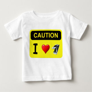 Caution I Love Cell Phones Baby T-Shirt