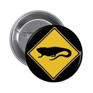 Caution Iguanas, Traffic Sign, Nicaragua Button