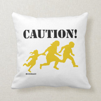 Caution Immigration Throw Pillow