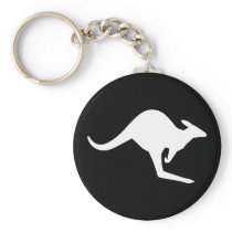 Caution Kangaroo Keychain