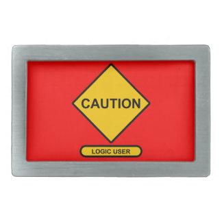 Caution: Logic User Rectangular Belt Buckle