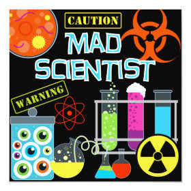 Caution Mad Scientist Birthday Party Invitation 5.25