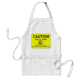 Caution Men at Work Adult Apron