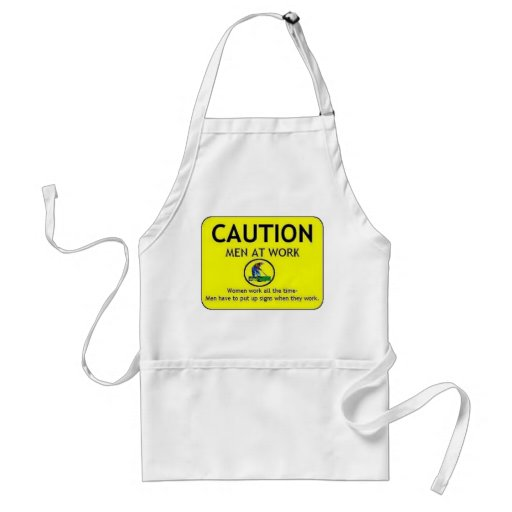 Caution Men at Work Apron