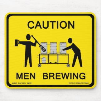 caution men brewing mousepad