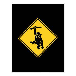 Caution Monkeys, Traffic Sign, Taiwan Postcard