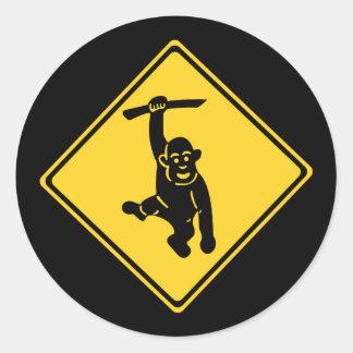 Caution Monkeys, Traffic Sign, Taiwan Round Sticker