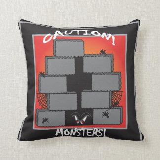 Caution Monsters Hiding   Halloween Throw Pillow