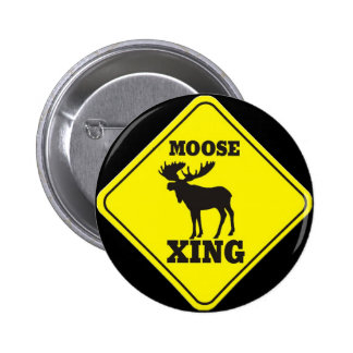 Caution- Moose Crossing Pinback Button