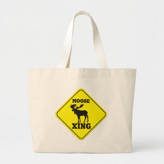 Caution- Moose Crossing Large Tote Bag