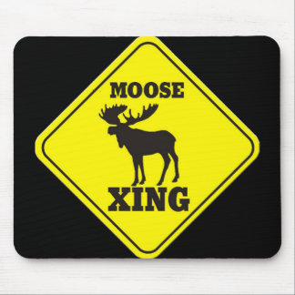 Caution- Moose Crossing Mouse Pad