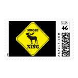 Caution- Moose Crossing Postage