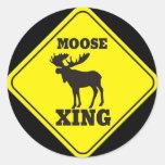 Caution- Moose Crossing Round Sticker