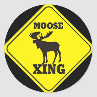 Caution- Moose Crossing Classic Round Sticker