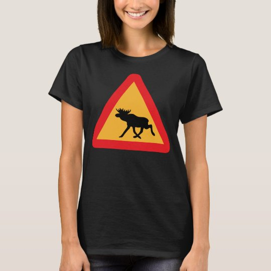 Caution Moose Swedish Traffic Sign T-Shirt