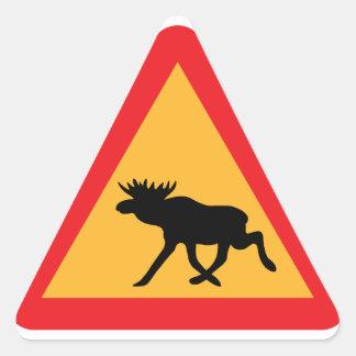 Caution Moose Swedish Traffic Sign Triangle Sticker