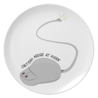 Caution:Mouse At Work Party Plates