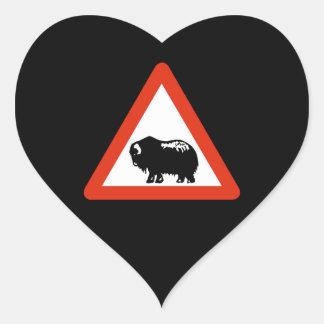 Caution Musk Oxen, Traffic Sign, Greenland Heart Sticker