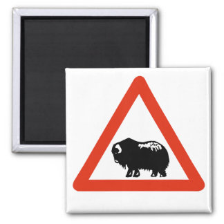 Caution Musk Oxen, Traffic Sign, Greenland Magnet