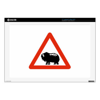 Caution Musk Oxen, Traffic Sign, Greenland Skin For Laptop
