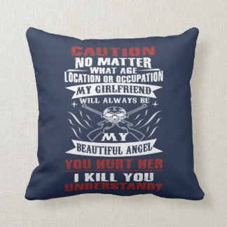 CAUTION MY GIRLFRIEND THROW PILLOW