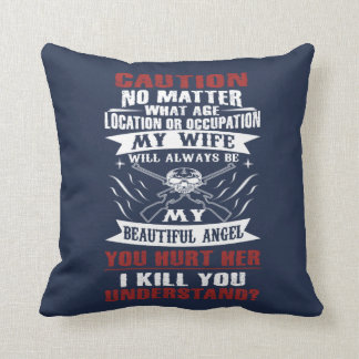 CAUTION MY WIFE THROW PILLOW