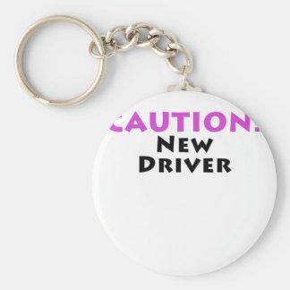 Caution New Driver Basic Round Button Keychain