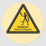 Caution: Ninja in Disguise (Silhouette) Classic Round Sticker