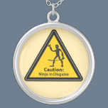 Caution: Ninja in Disguise (Silhouette) Silver Plated Necklace