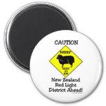 Caution NZ Red Light District 2 Inch Round Magnet