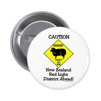 Caution NZ Red Light District Pinback Buttons