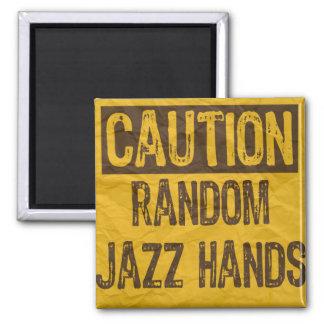 Caution OLD Sign-Random Jazz Hands Yellow/Black Magnet
