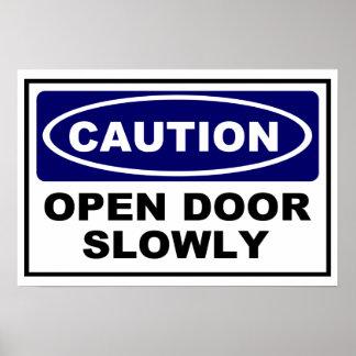 CAUTION - OPEN DOOR SLOWLY POSTER