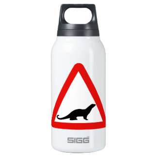 Caution Otters (1), Traffic Sign, UK Insulated Water Bottle
