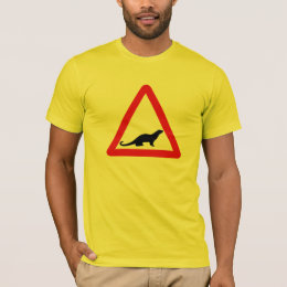Caution Otters (1), Traffic Sign, UK T-Shirt