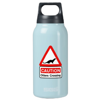 Caution Otters (2), Traffic Sign, UK Insulated Water Bottle