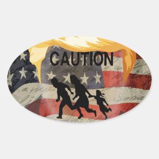 Caution Oval Sticker