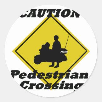 Caution pedestrian crossing classic round sticker