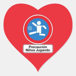 Caution Playing Children, Traffic Sign, Argentina Heart Sticker