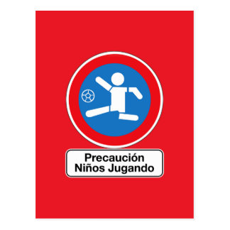 Caution Playing Children, Traffic Sign, Argentina Post Card