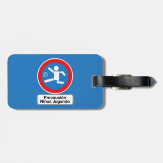 Caution Playing Children, Traffic Sign, Argentina Travel Bag Tags