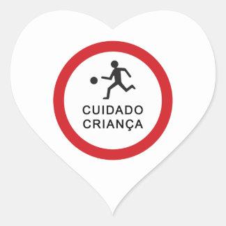 Caution Playing Children, Traffic Sign, Brazil Heart Sticker