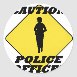 Caution_Police_Officer2.gif Classic Round Sticker