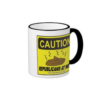 Caution: Republicans at Work Ringer Coffee Mug