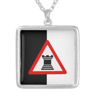 Caution: Rook Chess Piece Sign Square Pendant Necklace