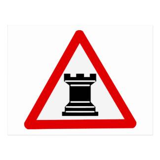 Caution: Rook Chess Piece Sign Postcard