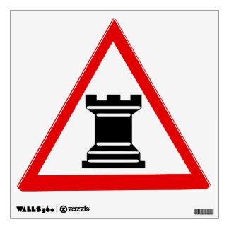 Caution: Rook Chess Piece Sign Room Sticker