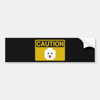 CAUTION: RUDE MINIFIG HEAD by Customize My Minifig Bumper Sticker
