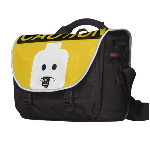 CAUTION: RUDE MINIFIG HEAD by Customize My Minifig Laptop Commuter Bag